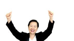 Happy business asian woman manager success thumb up on white iso Royalty Free Stock Photo