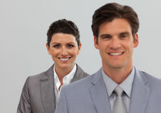 Happy Business associates standing in a line Royalty Free Stock Photography