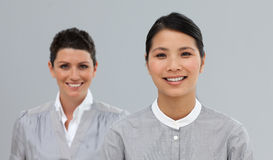 Happy Business co-workers standing in a line Stock Photos