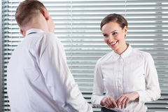 Happy business co-workers during work Royalty Free Stock Image