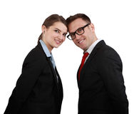 Happy Business Couple. Head in head smiling to the camera isolated against a white background Stock Image
