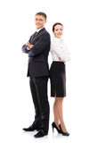 Happy business couple isolated on white. Young and happy business couple in formal clothes. Image isolated on white Royalty Free Stock Images