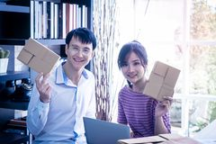 Happy Business Couple working together at home royalty free stock photography