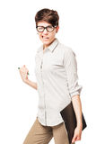 Happy business girl happy successful transaction on a white Stock Image