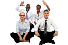 Happy business group demonstrating partnership Stock Photos