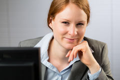 Happy Business Leader at Work Stock Photo