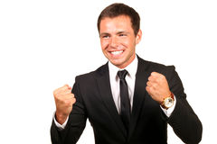 Happy business man. Portrait of a happy business man stock photos