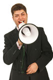 Happy business man announcement Stock Photos