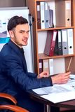 Happy business men boss at business office. Stock Photos