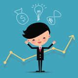 Happy businessman characters with graph line. Royalty Free Stock Image