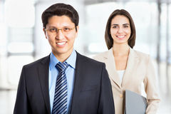 Happy business man with colleague Stock Photo