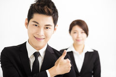 Happy business man with colleagues Stock Photos