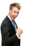 Happy business man fists gesturing Royalty Free Stock Images