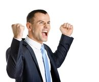 Happy business man with fists up Stock Image