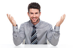 Happy business man gesturing Royalty Free Stock Photos