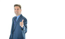 Happy business man giving a big thumbs up. Successful happy business man giving a big thumbs up offset to the left side stock photos