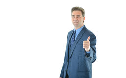 Happy business man giving a big thumbs up. Successful happy business man giving a big thumbs up offset to the right stock photography