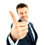 Happy business man going thumbs up Royalty Free Stock Photo