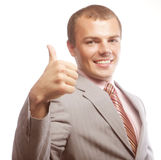 Happy business man going thumbs up Stock Images