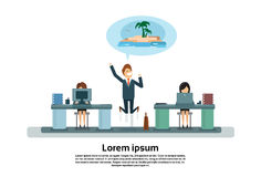 Happy Business Man Having Vacation Business People Working In Office. Flat Vector Illustration Stock Photo