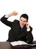 Business man with hand up cheerful talking on the  Royalty Free Stock Photo
