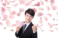 Happy business man hold China money Stock Images