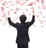 Happy business man hold China money