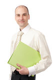 Happy business man holding a folder Royalty Free Stock Photos