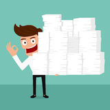 Happy business man holding many paper in hand and working hard. Stock Photo