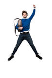 Happy business man jumping with bag Royalty Free Stock Photo