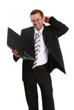 Happy business man with lap top Royalty Free Stock Photo