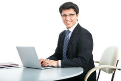 Happy business man with laptop Royalty Free Stock Photography