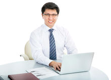 Happy business man with laptop Royalty Free Stock Photo