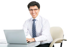Happy business man with laptop Stock Photography