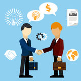 Happy business man make handshake exchange case. Happy business man make handshake sharing exchange case studies in which idea of invention and money Stock Image