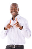 Happy business man pointing Stock Photography