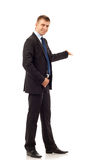 Happy business man presenting Stock Photo