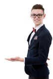 Happy business man presenting and showing with copy space for yo Stock Image