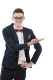 Happy business man presenting and showing with copy space for yo Royalty Free Stock Photo