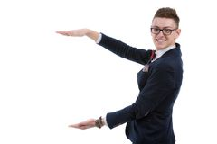 Happy business man presenting and showing with copy space for yo Stock Photo