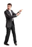 Happy business man presenting and showing with copy space for your text Stock Photo