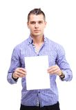 Happy business man presenting and showing with copy space Royalty Free Stock Photography