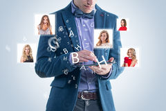 Happy business man receiving and sending message. Happy business men receiving and sending message sms email. social media hightech concept Stock Photo