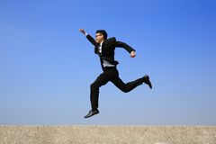 Happy business man run Royalty Free Stock Images