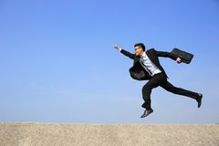 Happy business man run Royalty Free Stock Image