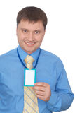 Happy business man showing his badge Stock Photos