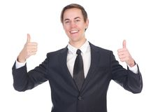 Happy business man showing thumbs up Royalty Free Stock Photography