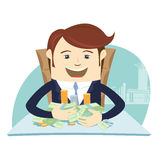 Happy business man sitting at the table and hugging money cash. Stock Images