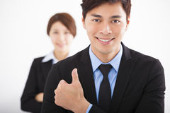 Happy business man with thumbs up Royalty Free Stock Photography