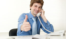 Happy business man using phone Royalty Free Stock Photo